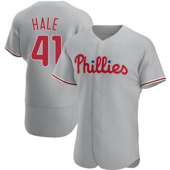 Men's David Hale Philadelphia Gray Authentic Road Baseball Jersey (Unsigned No Brands/Logos)