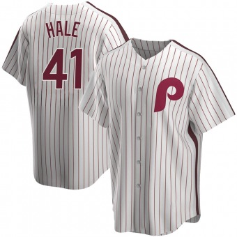 Men's David Hale Philadelphia White Replica Home Cooperstown Collection Baseball Jersey (Unsigned No Brands/Logos)