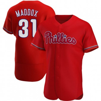 Men's Garry Maddox Philadelphia Red Authentic Alternate Baseball Jersey (Unsigned No Brands/Logos)