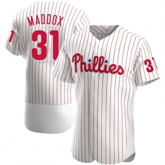 Men's Garry Maddox Philadelphia White Authentic Home Baseball Jersey (Unsigned No Brands/Logos)