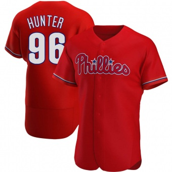 Men's Tommy Hunter Philadelphia Red Authentic Alternate Baseball Jersey (Unsigned No Brands/Logos)
