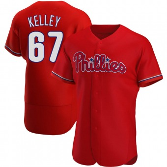 Men's Trevor Kelley Philadelphia Red Authentic Alternate Baseball Jersey (Unsigned No Brands/Logos)