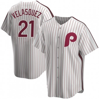 Men's Vince Velasquez Philadelphia White Replica Home Cooperstown Collection Baseball Jersey (Unsigned No Brands/Logos)