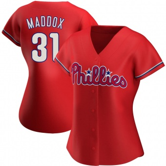 Women's Garry Maddox Philadelphia Red Authentic Alternate Baseball Jersey (Unsigned No Brands/Logos)