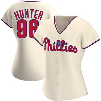 Women's Tommy Hunter Philadelphia Cream Authentic Alternate Baseball Jersey (Unsigned No Brands/Logos)