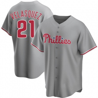 Youth Vince Velasquez Philadelphia Gray Replica Road Baseball Jersey (Unsigned No Brands/Logos)